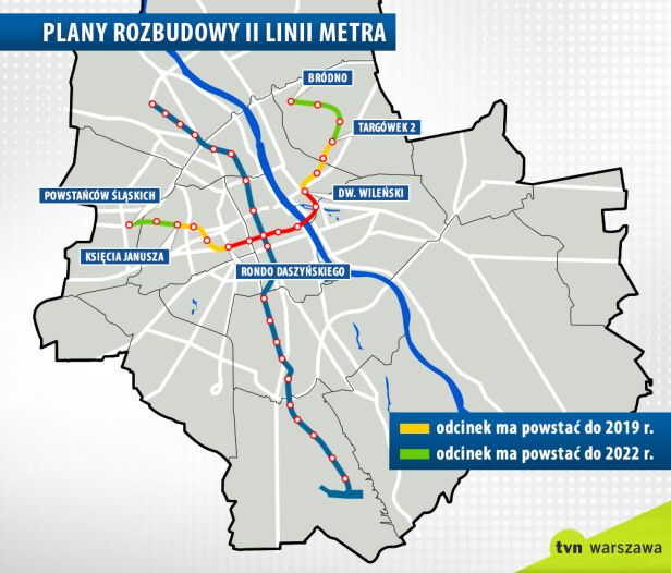 Plany rozbudowy II linii metra graf. tvn24.pl