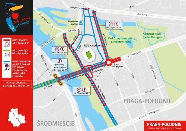 Utrudnienia wokół PGE Narodowego UM Warszawa