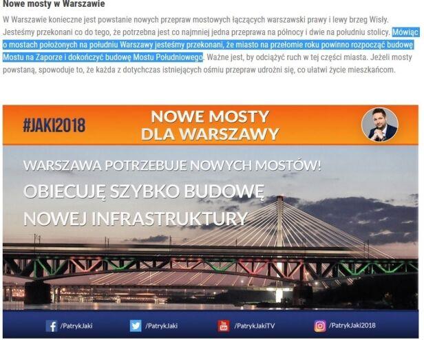 Informacja o mostach na stronie kandydata Jaki.pl