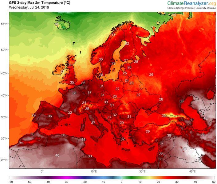 Prognoza maksymalnej temperatury wg. modelu GFS na trzy dni (ClimateReanalyzer.org)