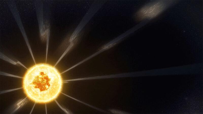 Zdjęcie pokazujące zakłócenia w trakcie uchodzenia wiatru słonecznego (NASA's Goddard Space Flight Center)