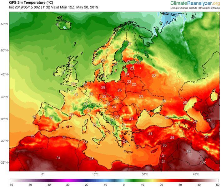 Prognoza temperatury na poniedziałek 20 maja według modelu GFS/University of Maine