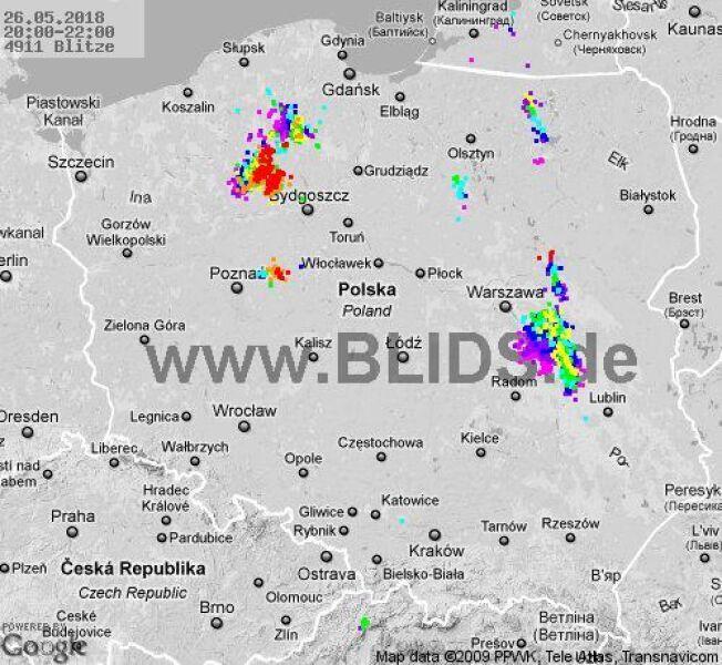 Ścieżka burz w godzinach 20-22 (blids.de)