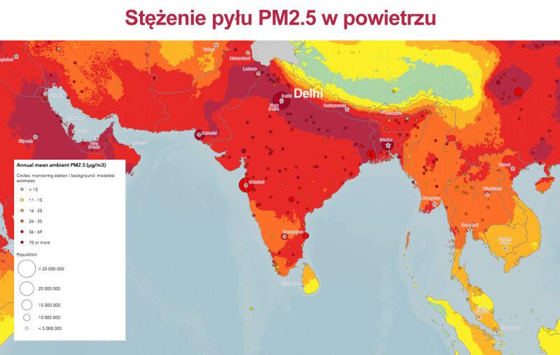 Stężenie pyłu PM2.5 w powietrzu (WHO)