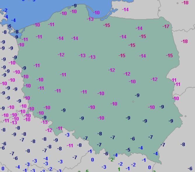 Temperatura powietrza w poniedziałek 8 lutego o godzinie 6.30 (wetteronline.de)