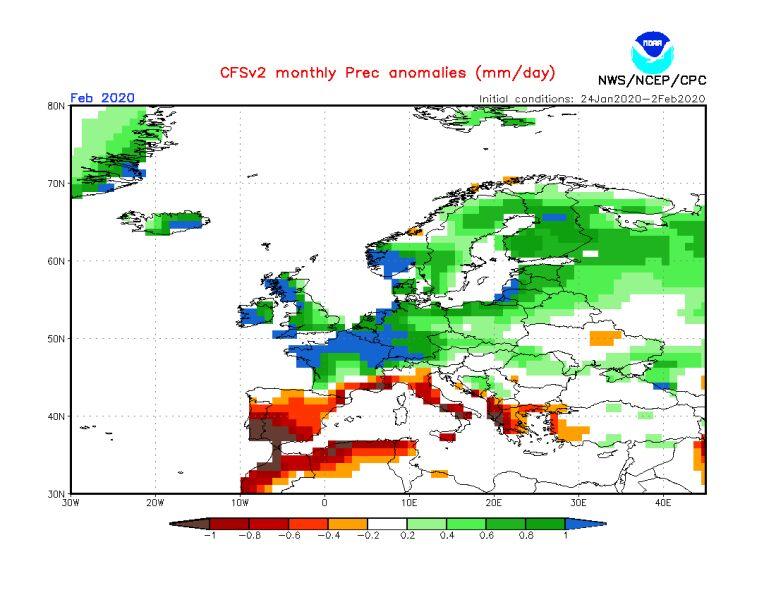 Prognoza odchylenia na plus średniej miesięcznej opadów na luty 2020 (NWS/NCEP/NOAA)